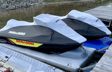 Store jet ski out of the water with lock and extra safety line plus cover