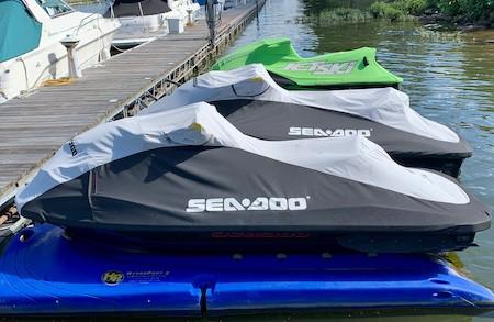 Floating docks with Sea Doos and Jet Ski