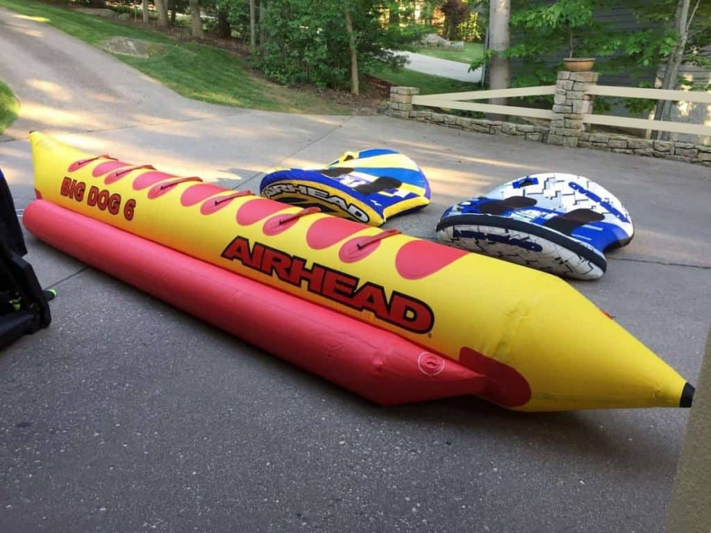 Different types of towable tubes including 6 person hot dog
