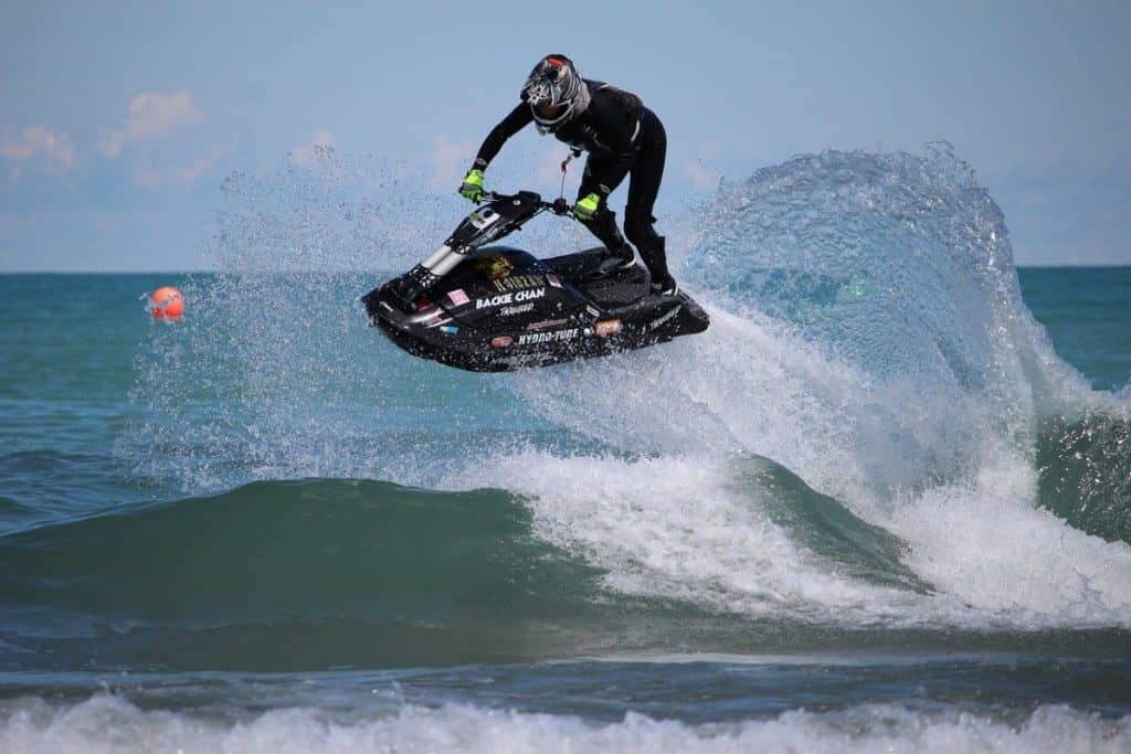 Jumping a jet ski can cause injury, some wear helmets