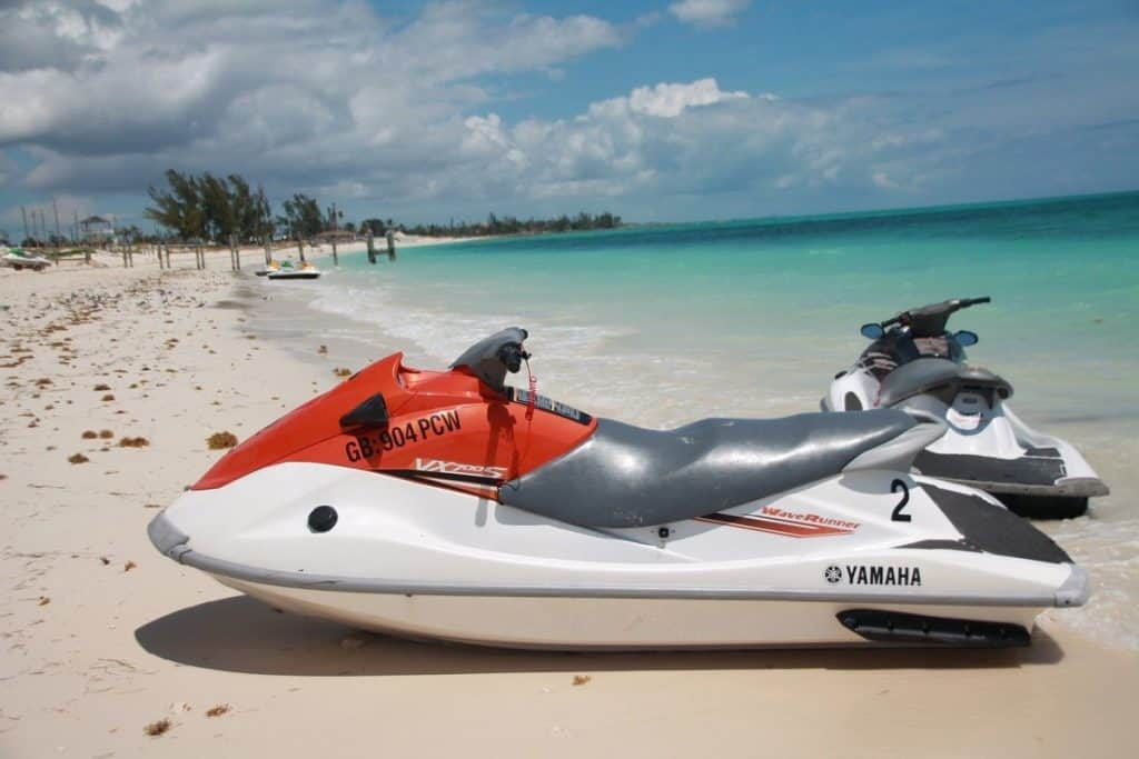 Photo of a used red saltwater jet ski