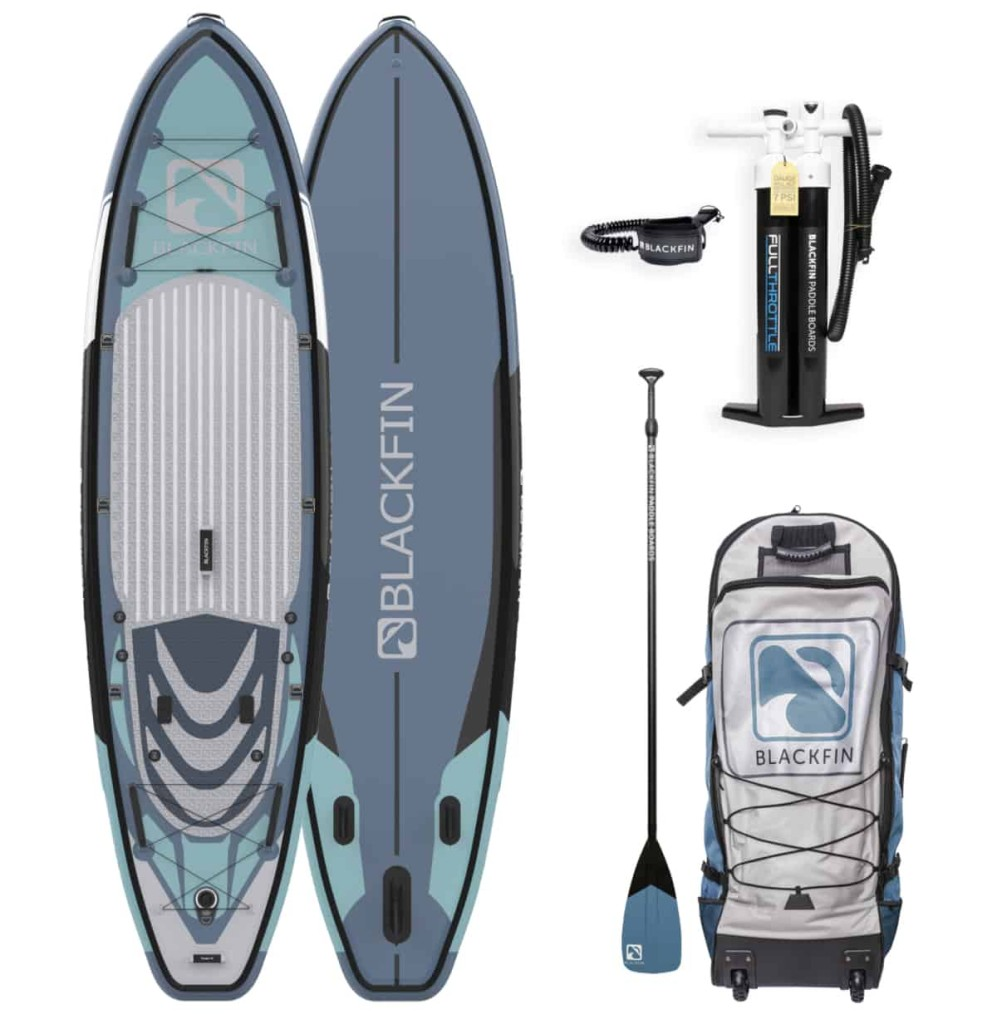 iRocker BLACKFIN XL paddle board in their Regal Blue color scheme