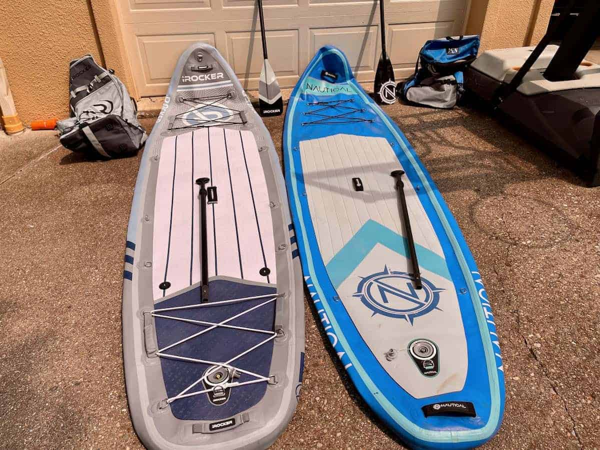 iRocker All Around and Nautical paddle boards drying in driveway