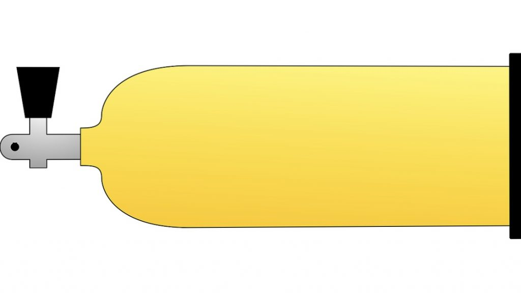 Yellow scuba tank drawing horizontally stored for transport