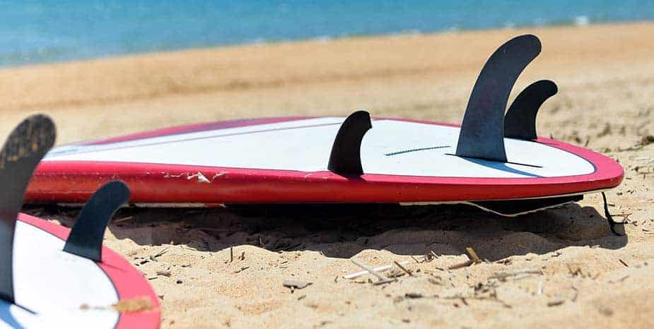 Two fin paddle board on beaxh