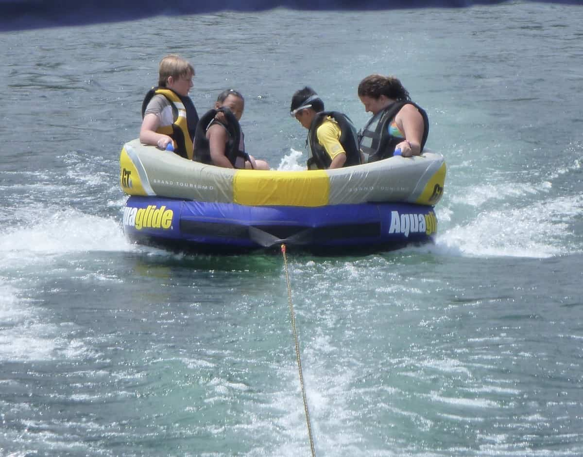 Towable tubes come in all sizes. Jet skis with high horsepower can tow 4 people.