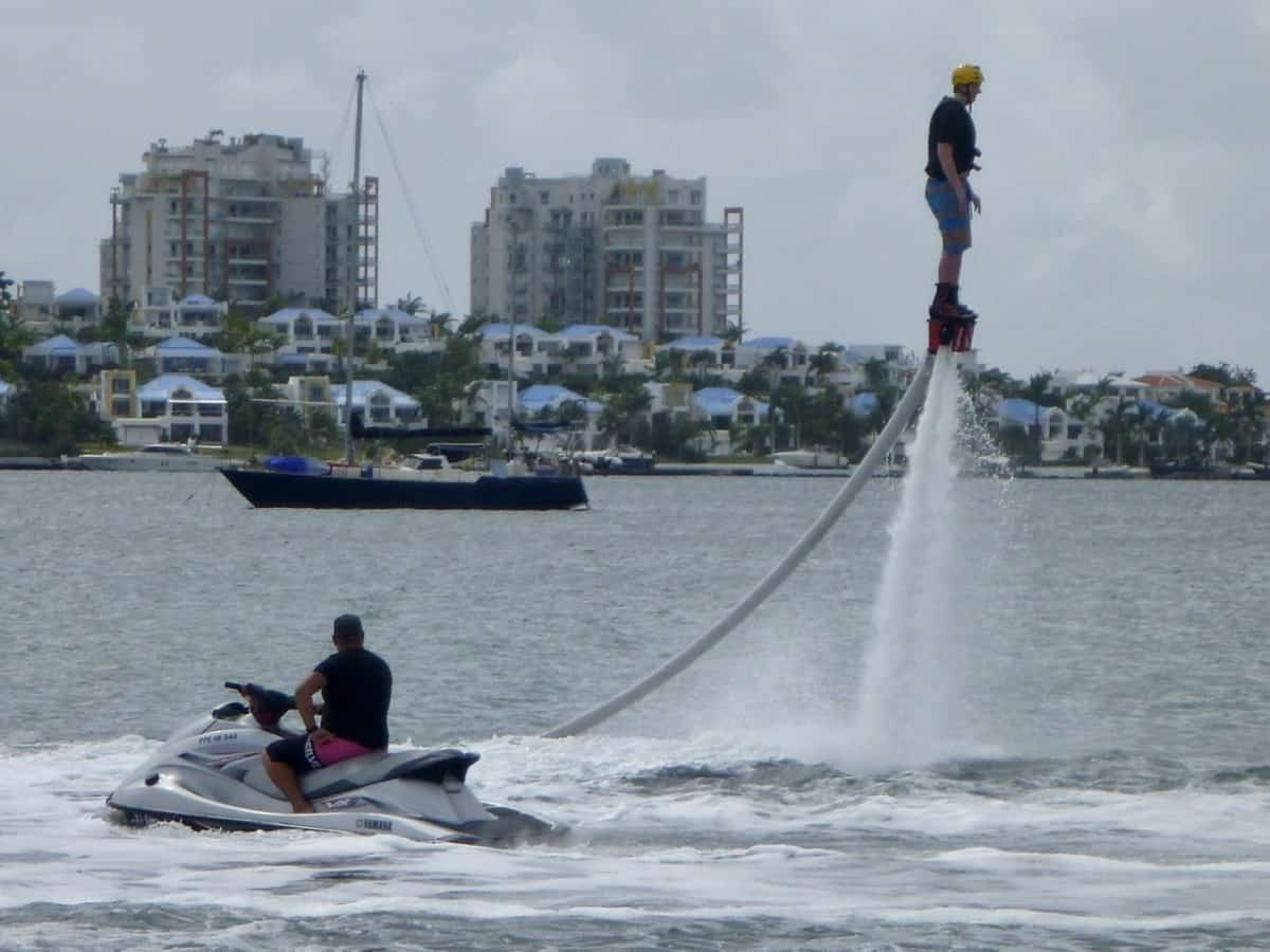 Photo of my son on his first flyboarding attempt already 15 feet in the air