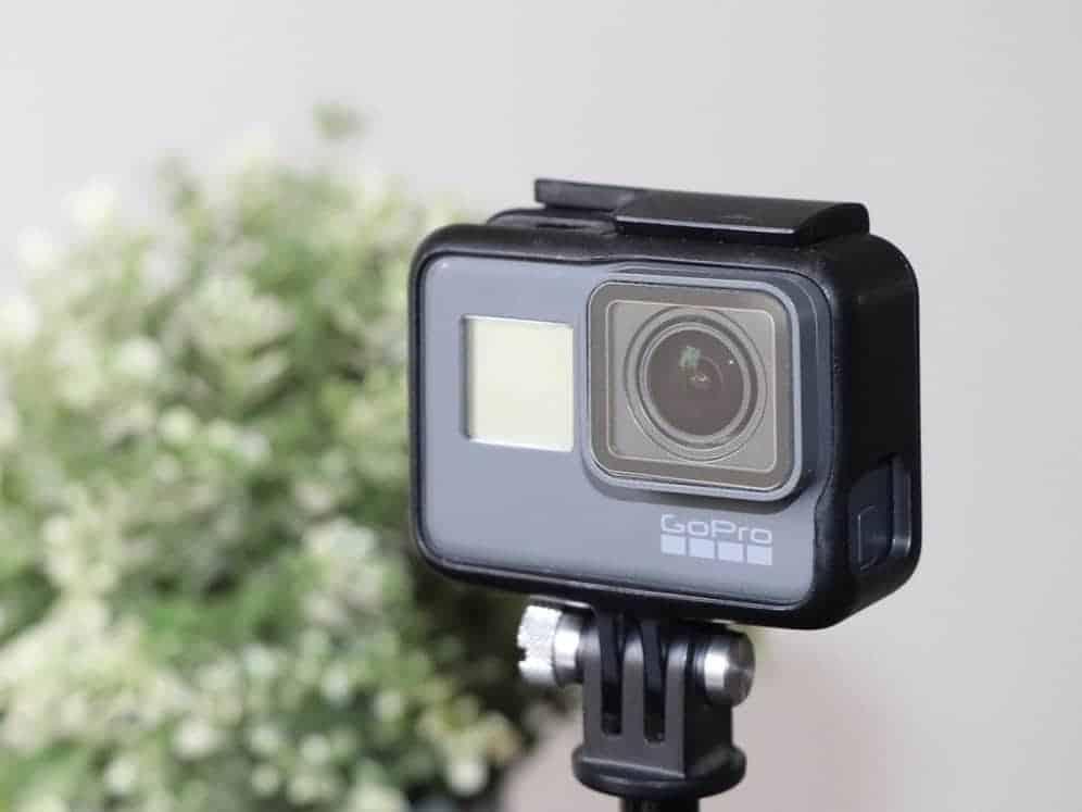 GoPro on a standard mount on tripod