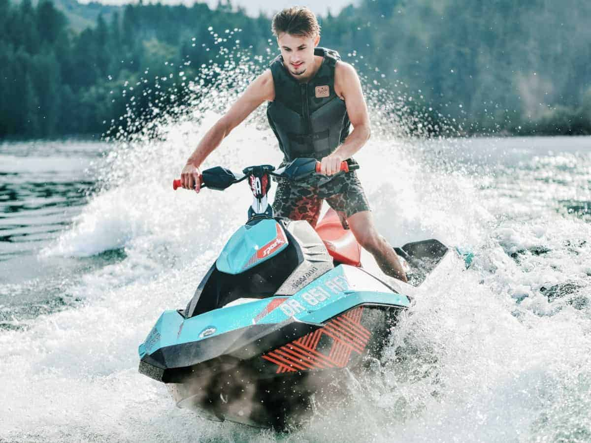 Orange and aqua blue sea Doo Spark, the best choice in the rec lite category of personal watercraft