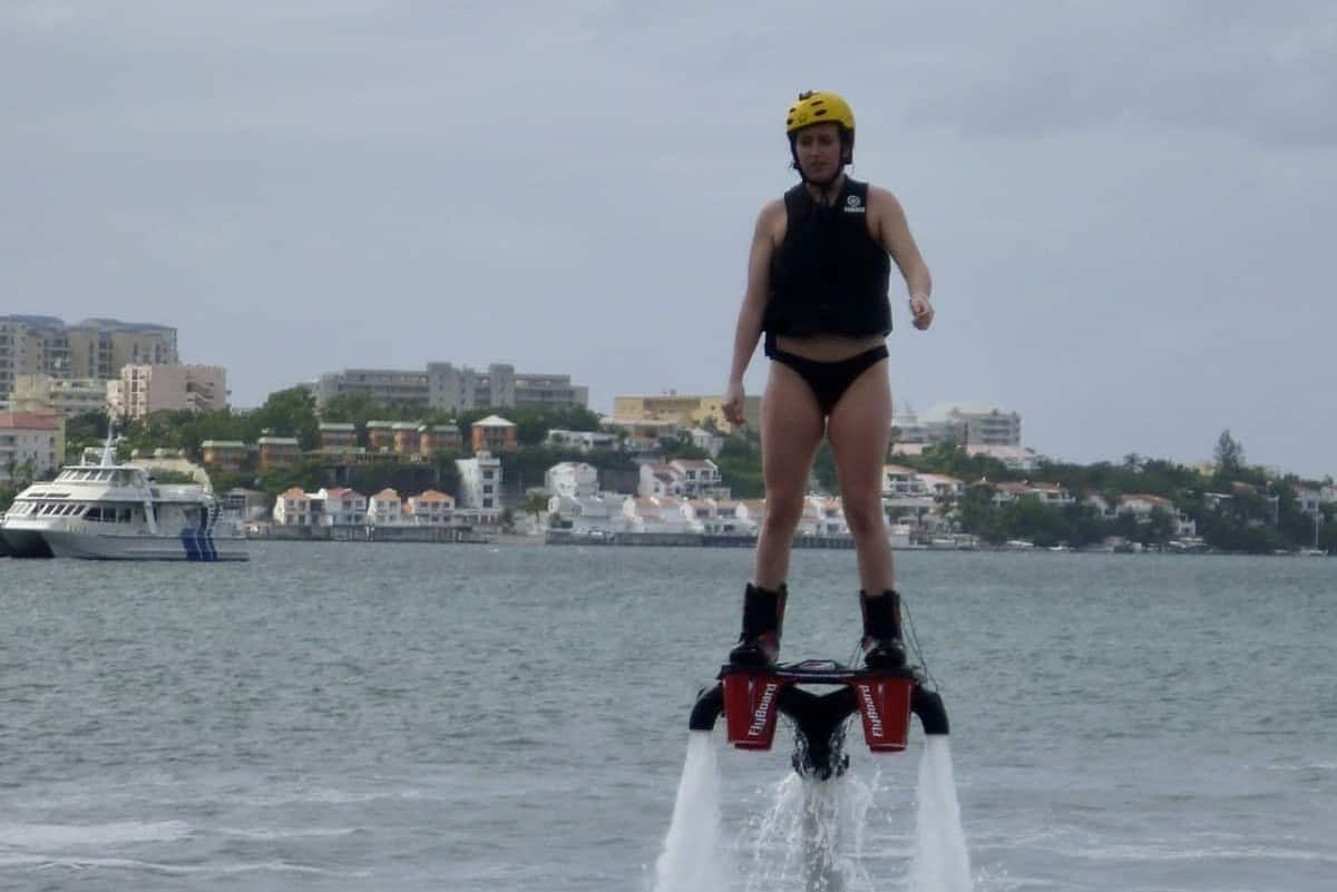 Daughter on flyboard in Saint Martin Caribbean