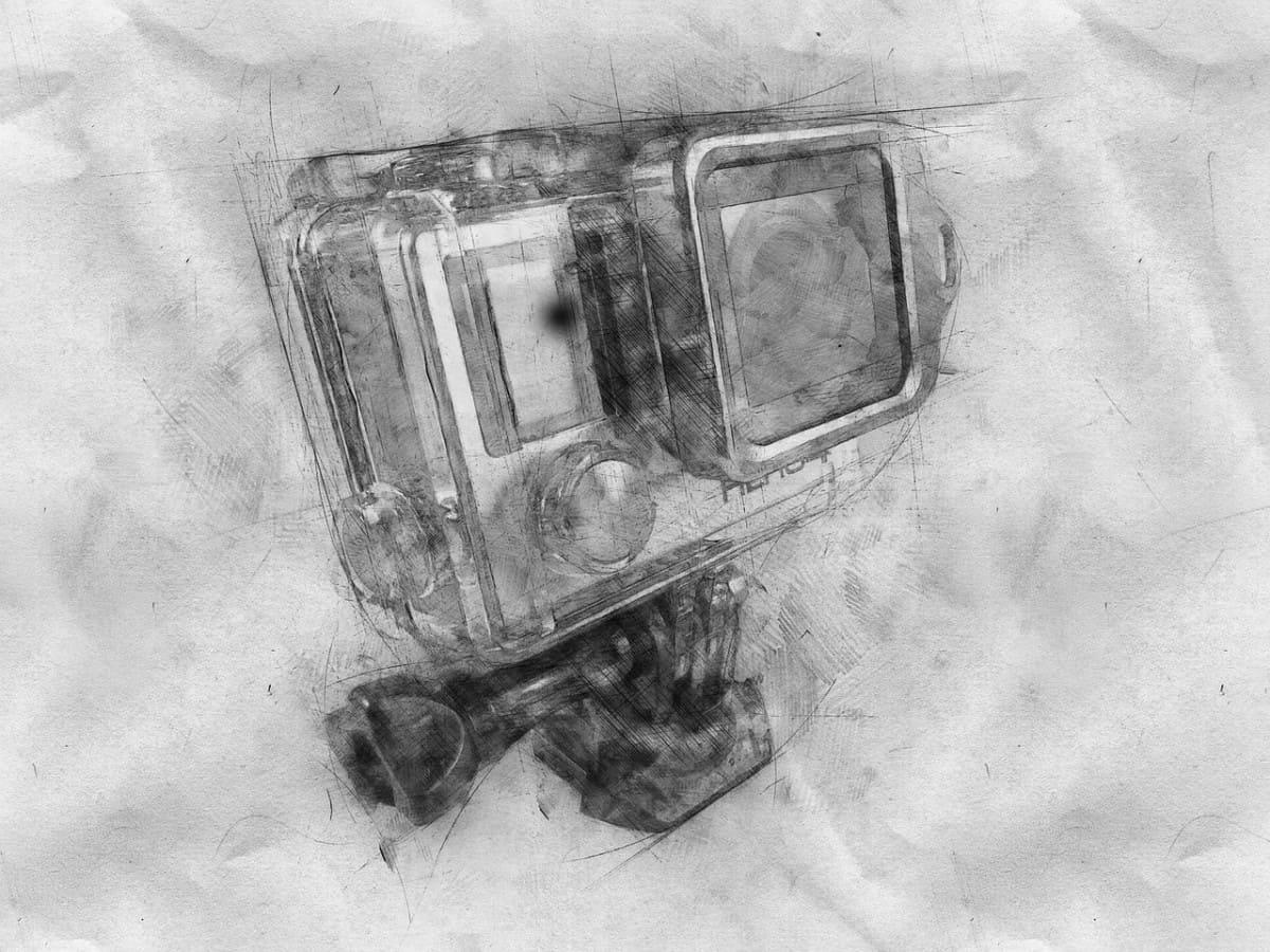 GoPro waterproof sketch to represent our list of underwater cameras