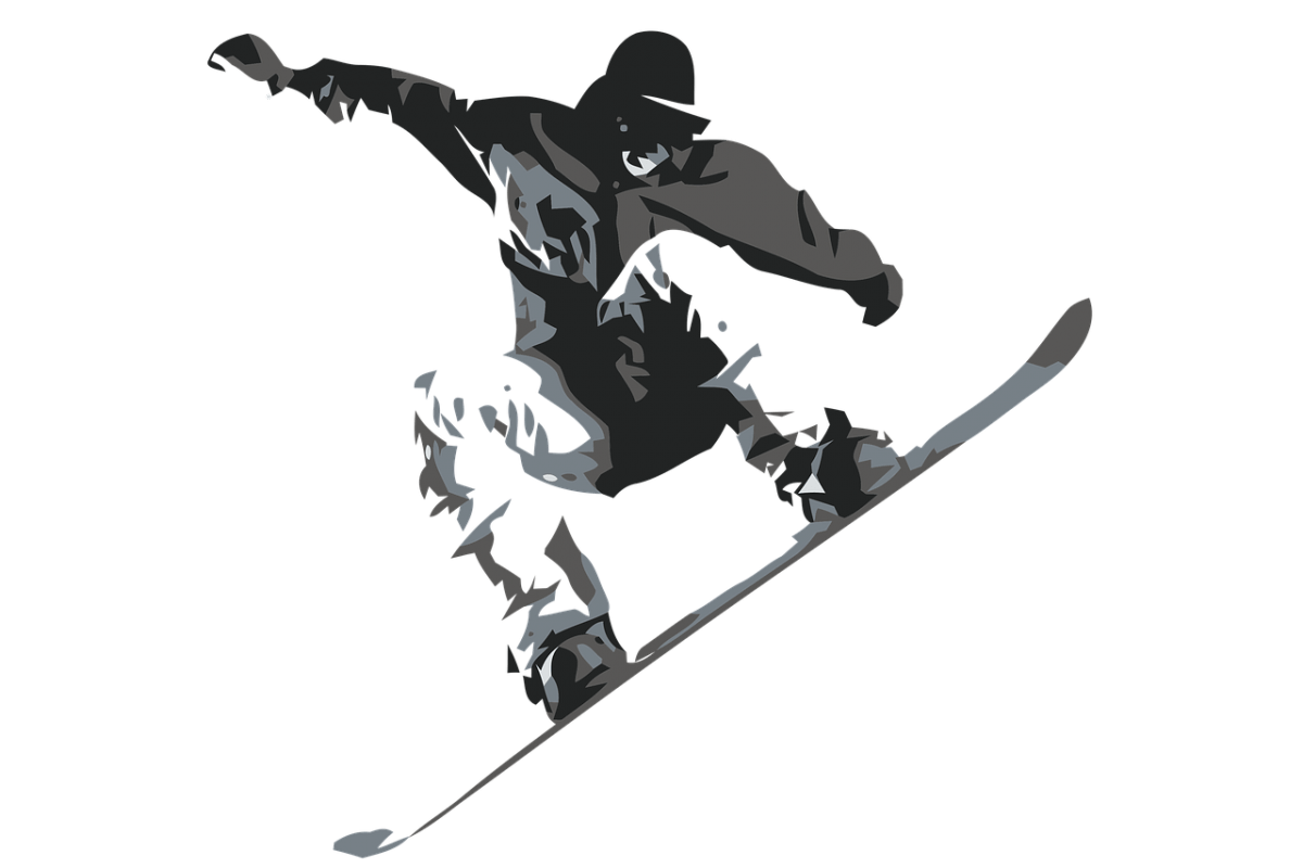 Black and white graphic drawing of a snowboarder jumping